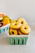 Baked almond and orange donuts