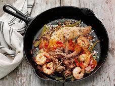 Smoked chicken and shrimp carnitas
