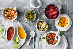 Variations of salsas and chutneys for burgers