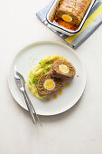 'Falscher Hase' (meatloaf with egg) and mashed potatoes
