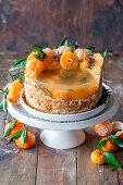 Tangerine jelly cake (honey cake medovik with tangerine syrop jelly inside)