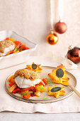 Monkfish with a pepper and nut crust and polenta shapes