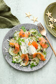 Herb panna cotta with smoked salmon and cucumber