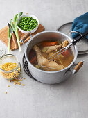 Using chicken broth as a soup base