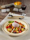 Exotic fruit salad with port wine cream