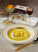 Mulligatawny vegetable and coconut soup with pineapple, mango and apple