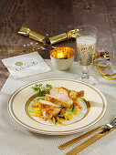 Corn poulard with champagne vegetables for New Year's Eve