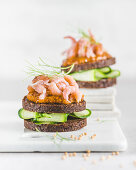 Pumpernickel with cucumber, port mustard (spicy mustard), North Sea shrimp and dill