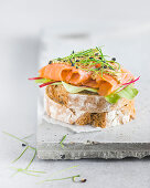 Rustic baguette with smoked salmon, Friesian mustard and chive cress