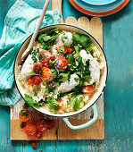Oven baked risotto and chicken breast