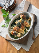 Chicken involtini with spinach, bacon and sage