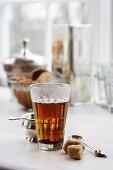 Hot tea with brown sugar