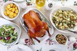 Roasted duck with sides