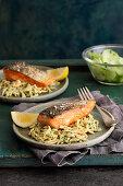 Salmon fillets with potato spaetzle