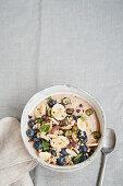 Vegan buckwheat hemp porridge with blueberries and bananas