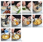 Preparing vegan cauliflower and almond 'scrambled eggs'
