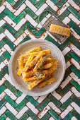 Homemade french fries with thyme and parmesan