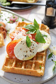 'Caprese' waffles with tomatoes and mozzarella