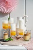 Dalgona shots and mango mimosa