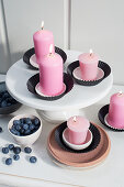 Candles in black muffin cases