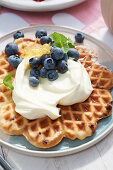 Cheesecake waffles with blueberries