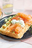 'Nordic Style' waffles with smoked salmon, sour cream and dill