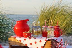 Picnic on the beach with various drinks and a red pitcher