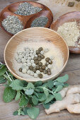 Make horehound pills (for coughs and sore throats): roll the balls in ginger powder