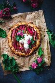 Rhubarb Almond Galette with Vanilla Ice