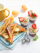Banana French toast and layered berry parfait with crumble
