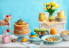 Easter brunch with primavera chicken soup, chocolate muffins and Crepe cake