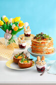 Easter brunch with a pancake cake