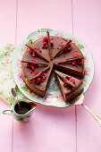 Triple Chocolate Cake with freeze-dried raspberries