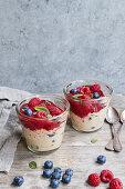 Vegan overnight oats with berries