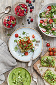 an assortment of raw food dishes from a vegan kitchen