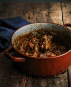 Black-chicken with Norway lobster in a casserole