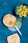 Pita bread stuffed with vegan 'Bacon and Egg Salad Filling'