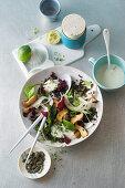Vegan superfood lentil salad with king oyster mushrooms and coconut yogurt