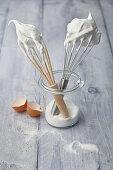 Whisks with meringue (egg whites)