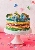 Colorful rainbow crepe cake