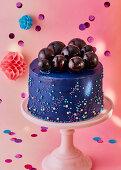 Blue bubble cake with gelatine balls