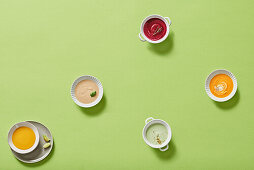 Colourful vegetable cream soups