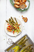 Roasted green asparagus salad with salsa and crostini
