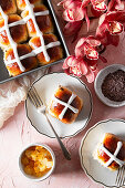 Candied citrus and chocolate Hot Cross Buns