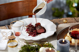 Chestnut and red cabbage with roasted venison