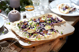 Red cabbage tarte flambée with goat cheese