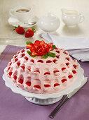 Strawberry mascarpone dome cake with Grand Marnier