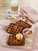 Brownie waffles with vanilla ice cream