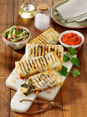 Greek strudel pastry parcels with vegetables and feta cheese