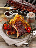 Grilled spare ribs in a cola marinade
